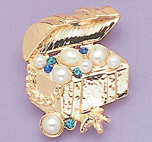 PA176: Jeweled Treasure Chest Pin
