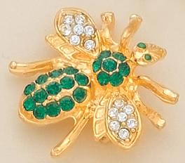 PA250G: Green Crystal Bee Pin