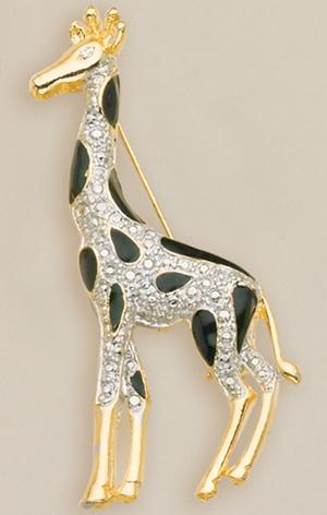 PA335: Gold & Black Enamel Giraffe Pin