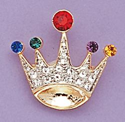 PA339: Multi-colored Jeweled Crown Pin