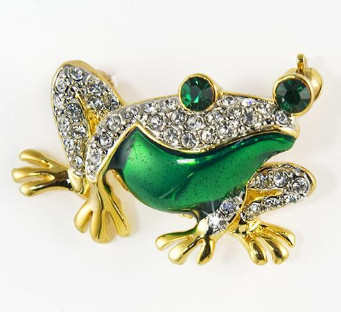 PA566: Crystal Emerald Frog Pin