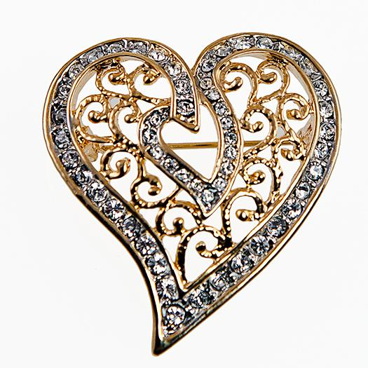 PA590: Filigree Two Tone Heart Pin