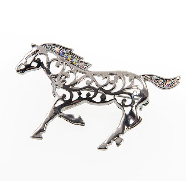 PA616: Silver Galloping Horse Pin