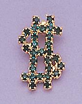 PA65G: Emerald Crystal Dollar Sign Pin
