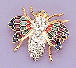 PA82: Bee Pin with Multi-colored Crystal Wings