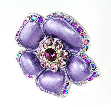 PA529: Amethyst Floral Pin