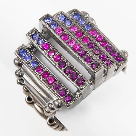RA122: Amethyst and Fuschisa Stretch Ring