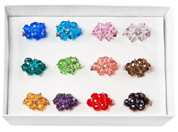 RA200: Crystal Adjustable Rings (Dozen Count)