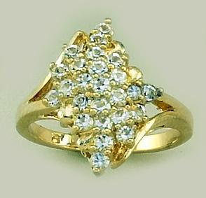 RA69: Gold & CZ Cluster Ring