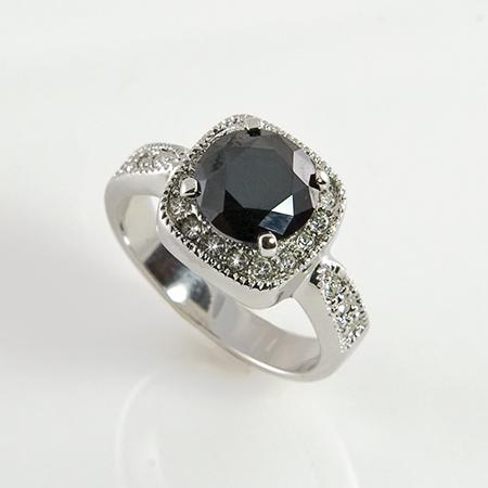RA81BK: Elegant Jet Black Ice CZ Ring