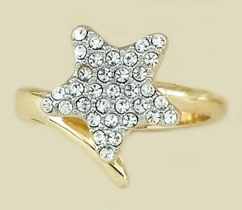 RA89: Crystal 5 Point Star Ring, Adjustable