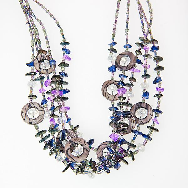SN241:Exotic Multi Strand Necklace and Earring Set