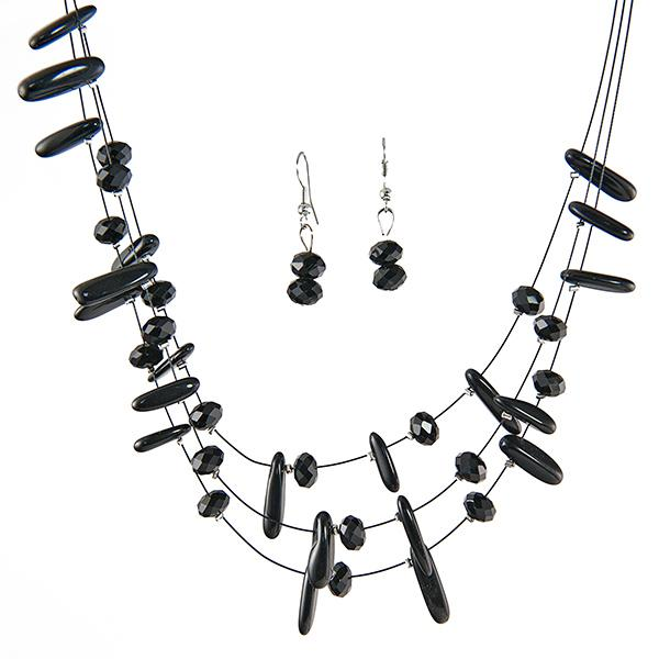 SN242: Natural Jet Necklace and Earring Set