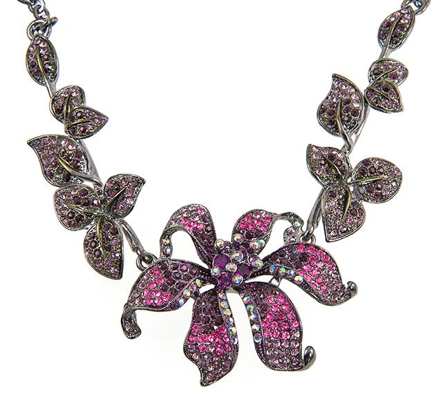 SN245F: Elegant Violet Floral Necklace and Earring Set