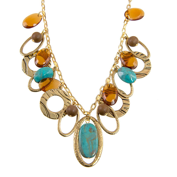 SN313: Turquoise and Amber Necklace
