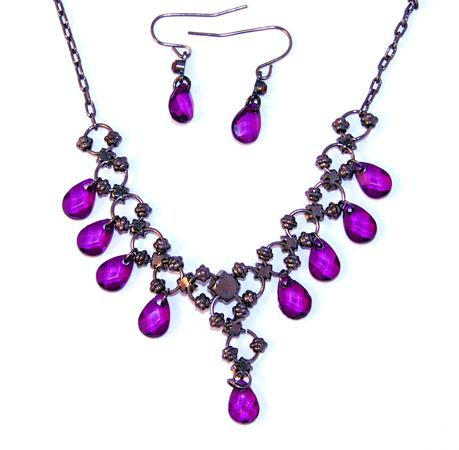 SNT114: Crystal Chandelier Necklace & Earring Set