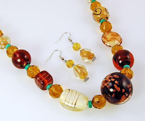 SNT135: Topaz Hand-Blown Necklace & Earrings Set