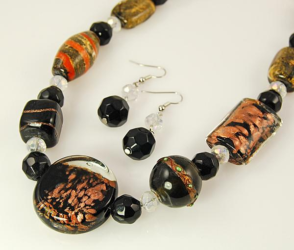 SNT136: Black & Metallic Hand-Blown Necklace & Earrings Set