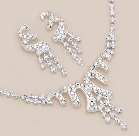 SNT90: AB Austrian Crystal Silver Chandelier Earring & Necklace Set