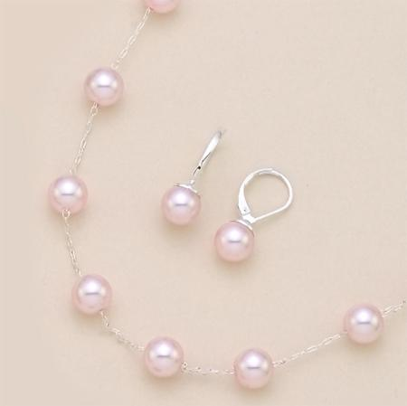 SNT92: Silver Necklace & Earring Set with Pink or White Pearls