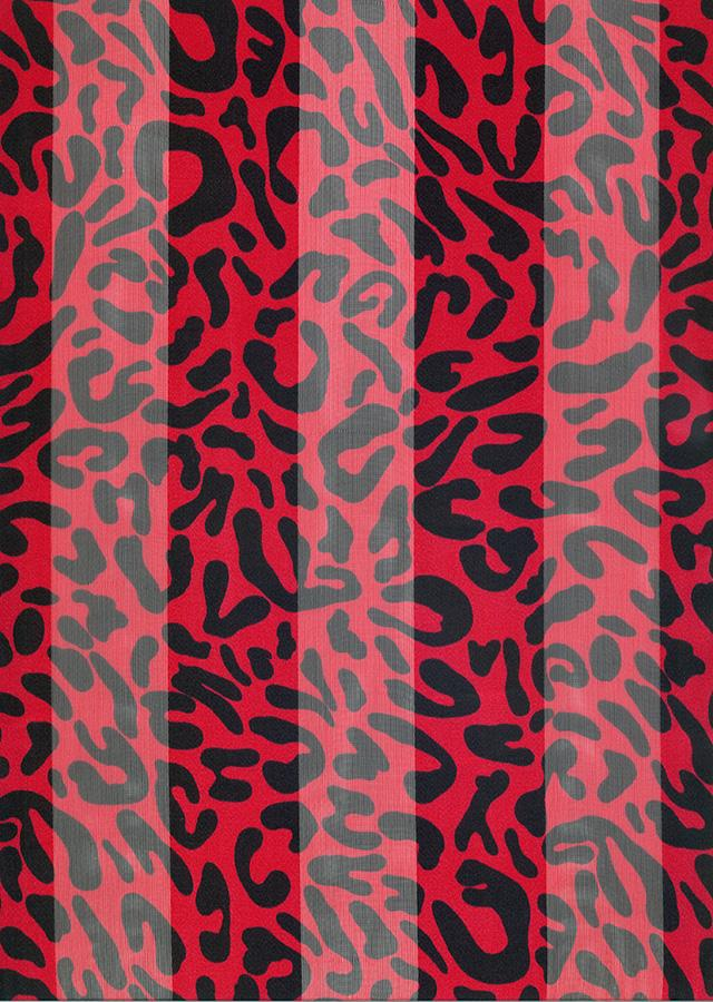 SS71:Red and Black Animal Print Scarf