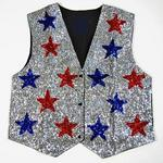 VE115: Red & Blue Stars on Silver Sequin Vest