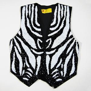 VE178Z: Black & White Zebra Sequin Vest