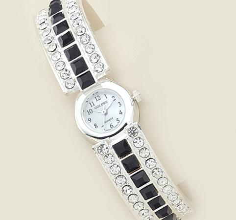 WA42: Jet (or Red) & Clear Crystal Cuff / Bangle Watch