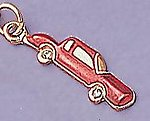 CH33: Red Enamel Car Charm with Crystal in Gold or Silver