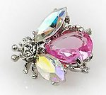 PA493: Elegant Pink Crystal Bee Pin