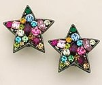 EA365: Multi-Color Crystal Star Earrings