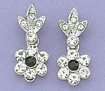 EA421: Floral Crystal Earrings in Silver or Gold