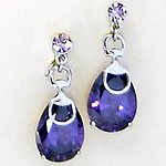 EA472: Amethyst Crystal Tear Drop Earrings