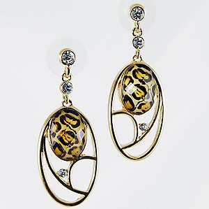 EA484: Exotic Gold Crystal Oval Necklace or Earrings