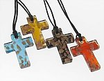 NA193: Moreno Glass Cross Necklace (4 Colors Available)