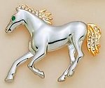 PA45: 2-Tone Horse Pin with Crystals