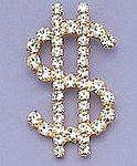 PA65: Clear Crystal Dollar Sign Pin