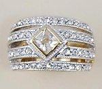 RA100: 2-Tone CZ Pave Set Ring