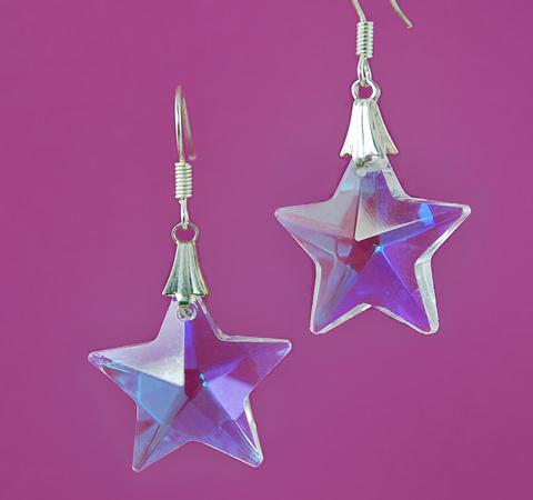 Ea674 Swarovski Style Star Earrings