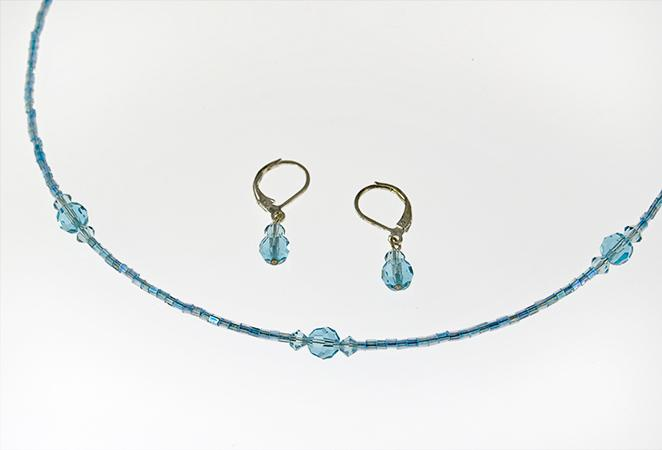 NA194: Austrian Crystal Necklace & Earrings Set in Blue or Pink