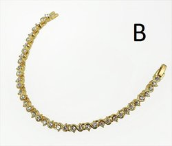 BR12G: Traditional Tennis Bracelet in Gold With Austrian Crystals