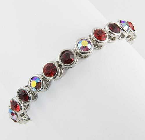 BR216R: Red/Clear Crystal Bangle Bracelet with Magnetic Clasp