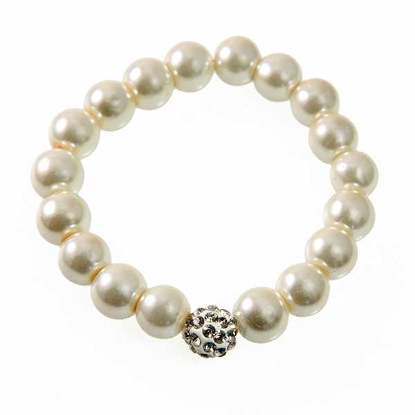 BR399: Pearl Bracelet with Crystal accents