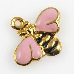 CH37P: Pink Bee Charm in Gold or Silver