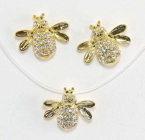 EA237: Bee Earrings with Crystals in Gold