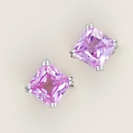 EA443: Pink CZ Stud Earrings