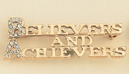 PA303: BELIEVERS AND ACHIEVERS Gold Pin with Crystals