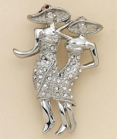 PA480: Ladies With Hats In 2-Tone & Crystals