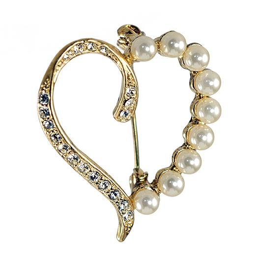 PA675: Crystal & Pearl Golden Heart Pin