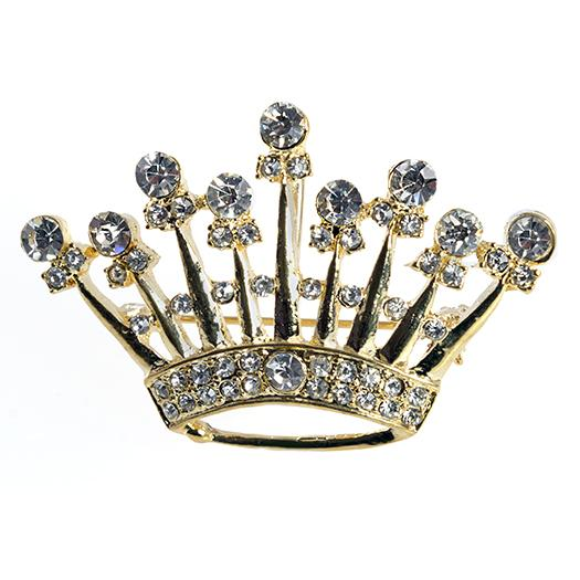 PA678: Elegant Crystal Crown Pin